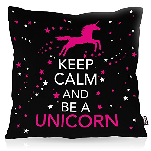 VOID Keep Calm and be a Unicorn Kissenbezug Kissenhülle Outdoor Indoor, Kissen Größe:50 x 50 cm