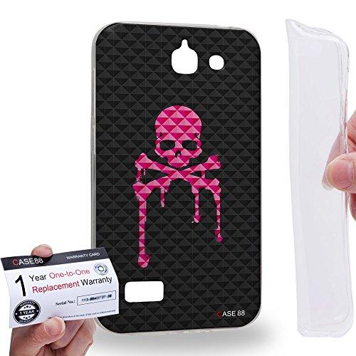Case88 [Huawei Ascend G730] Custodia/Cover Gel/TPU/Prottetiva & Certificato di garanzia - Art Blooming Skulls Melting Art1907