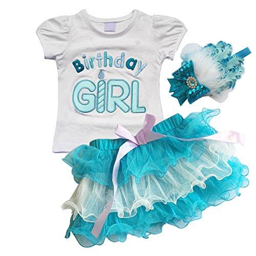 Fanryn 3-teiliges Baby Kinder Kleinkind Mädchen Geburtstag Birthday Girl Partys Bekleidung Set T-Shirt Tütü Rock Set Outfits Geburtstag Kleidung und Verkleiden Fancy Kopfbedeckungen Stirnband, Blau, 90cm(12-18 (Fancy Dress 70er)