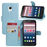 HualuBro Alcatel OneTouch Pop Star Hülle, Premium PU Leder Leather Wallet HandyHülle Tasche Schutzhülle Flip Case Cover für Alcatel One Touch Pop Star 3G 5022D (Blau)