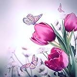 Tovaglioli per decoupage,a 3 strati, 33x 33cm, motivo farfalla e tulipani, per lavoretti e arte con tovaglioli, 4 pz.