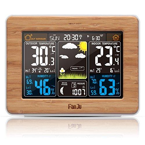 FanJu FJ3365 Wetterstation mit Weckfunktion und Temperatur / Feuchte / Barometer / Wecker / Mondphase / Atomuhr mit Außensensor