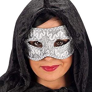 Carnival 00869-Lusso Damasco Máscara, con puente, de plástico, plateado