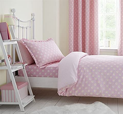DAISIES KIDS PINK WHITE SINGLE COTTON BLEND REVERSIBLE GINGHAM CHECK DUVET COVER