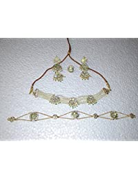 Rajputi Jewellery Perat Green Gold-Plated Necklace Set For Women's