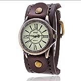 Herren Armbanduhr Unisex Damen Vintage Leder Band große Zifferblatt Uhren Retro Breit Leder Echtleder Armband Analog Quarz Uhr (braun)