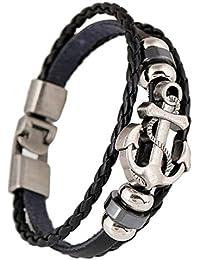 hombres pulsera - SODIAL(R)anclas tejida cuero multicapa de los hombres pulsera negro