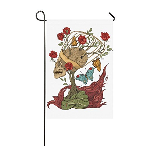 interestprint Amazing Sugar Skull mit Schlange lange Polyester Garten Flagge House Banner 30,5x 45,7cm, Spring Fahne Deko Rose Blume Schmetterling für Party Yard Home Outdoor Decor