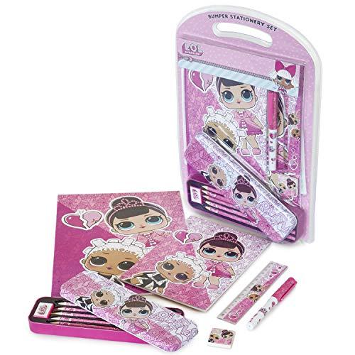 L.o.l. surprise! cartoleria scuola kawaii | set di cancelleria per bambini lol surprise glitter | kit cancelleria delle bambole lol con astuccio kawaii | regalo per bambina 4 5 6 7 8 9 anni