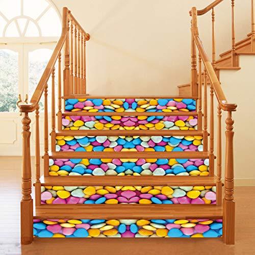 RENZHAO Treppenaufkleber 6 Stück DIY Selbstklebende Farbe Schokolade Bohnen 3D wasserdichte Tapete Dekorative Wandaufkleber 18 * 100cm -
