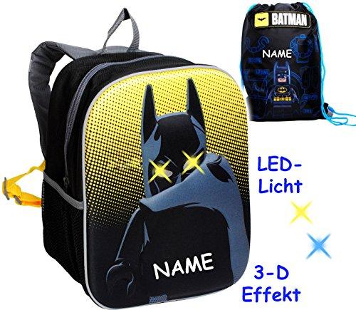 alles-meine.de GmbH 2 TLG. Set _ 3-D Effekt & LED Licht ! _ Kinder Rucksack & Turnbeutel -  Lego - Batman  - incl. Name - Tasche - wasserfest & beschichtet - Leuchtend - Kinder..