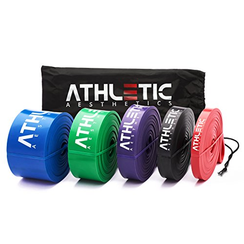 Premium Widerstandsbänder + Tasche und Übungsanleitung [Einzeln und im preiswerten Set] - Fitnessbänder / Resistance-Bands in Studioqualität für Krafttraining & Fitness - Trainings-Bänder / Fitness-Band / Klimmzug-Band - ATHLETIC AESTHETICS - 4er Set (Rot, Schwarz, Lila, Grün)