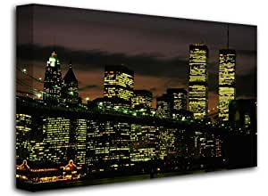 "World Trade Center - Twin Towers City Night View - New York City, Size: 60"" x 40"" (150cm x 100cm Approx), Cityscape Landmark Canvas Art Picture Print, (FRAMED CANVAS)"