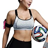 Encounter Handsome Komfort Damen Starker Halt Gepolsterter Push up Ohne Buegel Sport BH Bustier Stretch Sports Bra Top Fuer Yoga Fitness-Training Herstellergröße XL (EU L, Hellgrau)