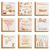 Jolintek Cartolina di Auguri Compleanno, 9 Pezzi Oro Compleanno Biglietti di Auguri con Buste Bambini Compleanno congratulazioni Scheda di regalo