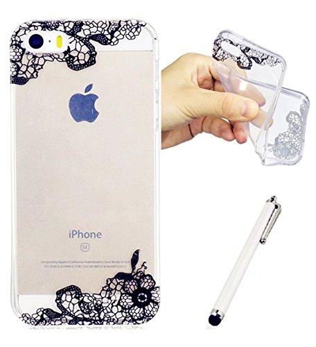 IPhone SE/5/5S Fall WYRHS Ultra-Thin Flexible TPU Silikon Transparente Shell Anti-Kratzer Shockproof Shell - Schwarze Spitze+ Metall Berühren Stift (Schwarz Strass Tee)