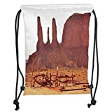 Drawstring Backpacks Bags,House Decor,Scenic Archaic Monument Valley on Western Desert Odd Formation of Rock and Cliff Print,Tan Soft Satin,5 Liter Capacity,Adjustable String Closu