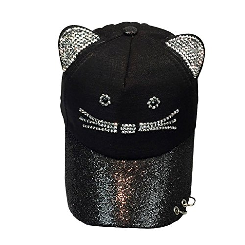 Baseball Kappe Kinder MäDchen Cute Cat Ear Sequin Ring Baseball Cap Hat Flat Hat...
