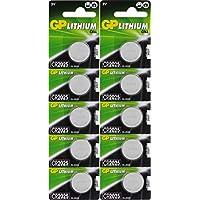 Batterien CR2025 CR 2025 (CR2025e) 3v Knopfbatterien/Lithium Knopfzellen 3 Volt, für verschiedenste Geräte- und Verbraucheranwendungen (10-er Pack GP Markenware, Batterien einzeln entnehmbar)