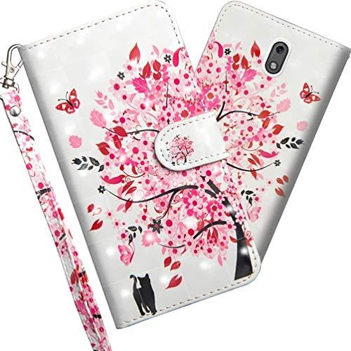 COTDINFOR Nokia 3.1 2018 Hülle 3D-Effekt Painted cool Schutzhülle PU Leder Flip Bookcase Handy Tasche Schale mit Magnet Standfunktion Etui für Nokia 3 2018 / Nokia 3.1 Flower Tree Cat YX.
