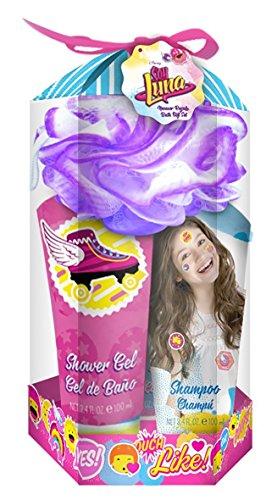 SOY LUNA Disney Bade-Set, 4teilig bestehend aus Duschgel (100 ml), Shampoo (100 ml), Bodylotion (100 ml) und Blumen-Schwamm, 1er Pack (1 x 1 Stück) (Bath Soap-geschenk-set)