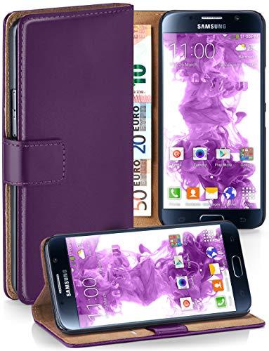 moex® Booklet mit Flip Funktion [360 Grad Voll-Schutz] für Samsung Galaxy S6 | Geldfach und Kartenfach + Stand-Funktion und Magnet-Verschluss, Lila