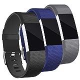 Mornex Bracelet Compatible Fitbit Charge 2, Bande en TPU Silicone Souple Sangle de Remplacement Reglables Sport Accessorie, Argente Boucle, 3 Pack, Grande, Noir+Bleu+Gris