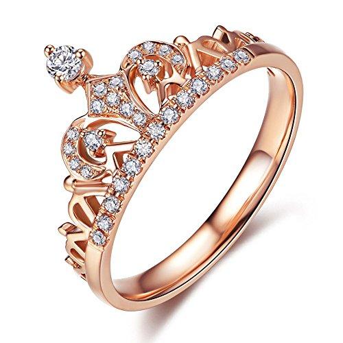 Milacolato Promise Ringe Rose Gold Tone Princess Crown Ringe für Mädchen CZ Band Ringe für Frauen -
