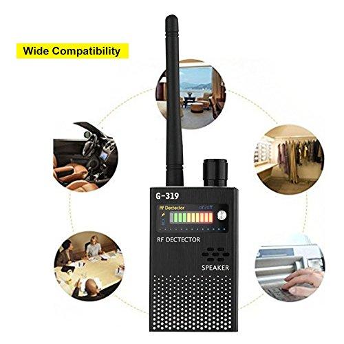 Richer-R Kabellos HF Signaldetektor, 1.2G/2.4G Erkennung HF Signaldetektor No Bug Get Away 1MHz-8000MHz,Hohe Empfindlichkeit Wireless Signal Detector Mini Detektor Gerät mit Antenne Schwarz