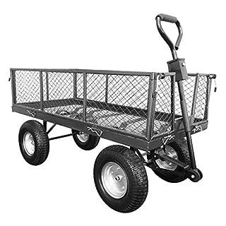 Chariot de jardin, chariot de maille grande gris de transport de 4 roues avec la direction et se pliant le côté et les pneus hors route, portant 453kg