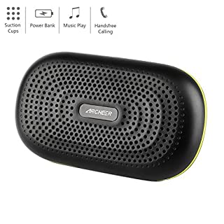 Wireless Bluetooth Speakers, Archeer Portable Bluetooth Speaker 3000mAh Power Bank with Built-in Micro USB Cable Suction Cups, 12H Playtime, A227 Black