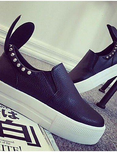 ZQ Scarpe Donna - Mocassini - Tempo libero / Casual - Creepers - Piatto - Finta pelle - Nero / Bianco , white-us8 / eu39 / uk6 / cn39 , white-us8 / eu39 / uk6 / cn39 black-us7.5 / eu38 / uk5.5 / cn38
