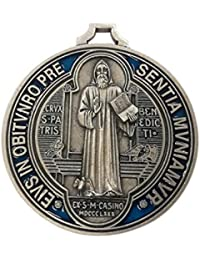 Eurofusioni San Benito Medalla chapeada Plata Pintada a Mano - Diámetro 7 cm