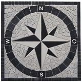 Marmor Rosone 60x60 cm Windrose Mosaik Einleger Schwarz Weiss Naturstein Fliesen 034