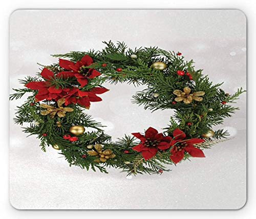 SHAQ Christmas Mouse Pad Mauspad, Floral Wreath Cultural Design Poinsettia Blossoms Holly Pine Cone and Branches, Standard Size Rectangle Non-Slip Rubber Mousepad, Multicolor