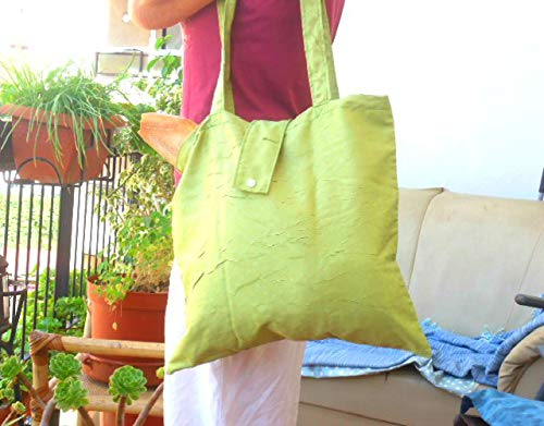 Fold up tote, ECO friendly Roll up tote bag, Reusable green Tote bag, Shopping bag, Market tote, Emergency grocery bag - handmade-bags