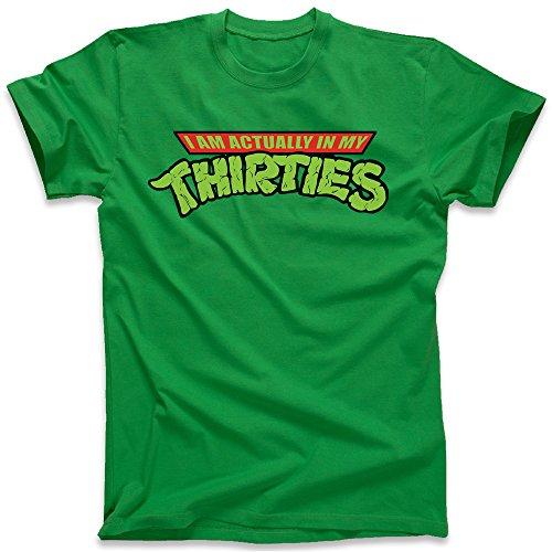 I'm Actually in My Thirties 30's TMNT Teenage Mutant Ninja Turtles, Men's T-Shirt, Green, X-Large (Ninja Turtles I)