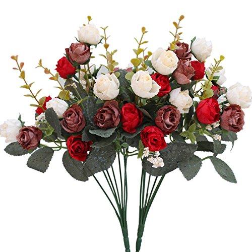 Luyue Künstlicher Seiden-Blumenstrauß mit 7Stielen und 21 Rosen, 2Stück Red Coffee