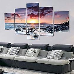 YKJMHL 100×55cm Rahmen 5 Stücke Moderne Wandkunst Seaview Landschaft Leinwand Malerei Sonnenuntergang Am Meer Wandbilder Decor Strand Stein Ölgemälde