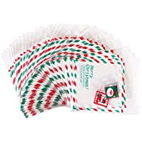 CCINEE 100pcs Self Adhesive Christmas Cookie Candy Package Clear Cellophane Treat Gift Bags
