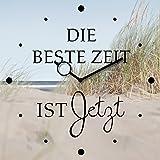 Wanduhr aus Glas, Spruch: Die beste Zeit ist Jetzt, Strandmotiv, 30x30 cm von Eurographics