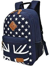 Teenager Union Jack Uk Flag School Shoulder Backpack With Star Pattern Book Bag Size One Size (Blue) By Sporset