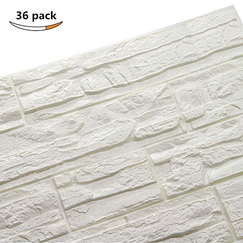 LEISU 3D Ladrillo Pegatina Pared Autoadhesivo Panel Pared Impermeable 3D DIY Wall Stickers Moderno Blanco Decorativo pare Cocina, baño, dormitorio, oficina, fondo TV 60 * 60CM (36pcs, blanco)