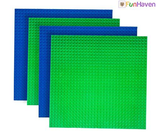 4 X 4 Bretter (FunHaven 4er Pack Bauplatte Regenbogen Groß Basis Platten Ziegel Building Bretter für Mädchen Jungen 32x32 Nieten Or 10X10 Zoll Zubehör Platte Bases Kompatibel mit Major Marken (BlauX2-GrünX2))