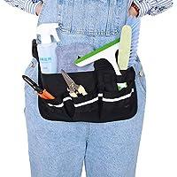 Cinturón de herramientas de limpieza con banda reflectante 600D Oxford ajustable herramienta delantal organizador con cinturón para hombres mujeres, bolsa de herramientas de limpieza negro