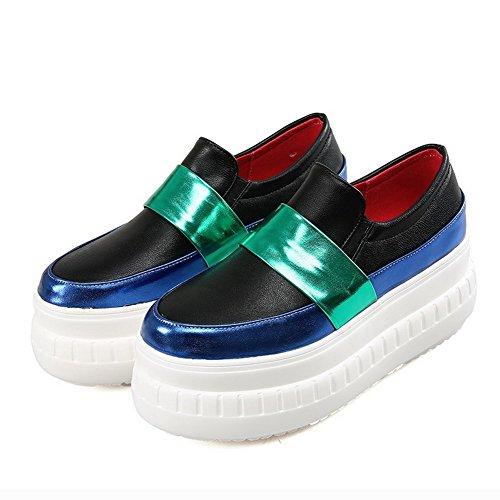 AllhqFashion Damen Gemischte Farbe Hoher Absatz Ziehen Auf Rund Schließen Zehe Pumps Schuhe Blau