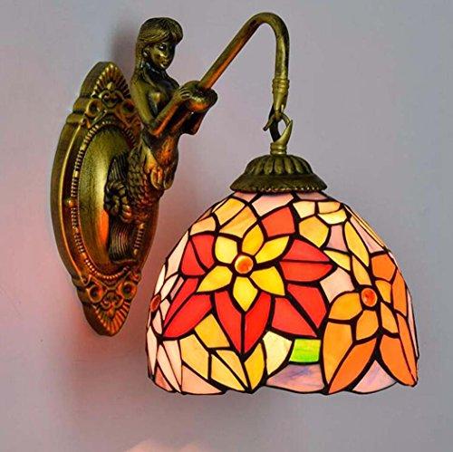 Bronze-feder-wand-beleuchtung (Tiffany-Art-Wandlampe, Euro-Art-kreative Buntglas-Kunst-Wand-Lampe, Retro- Persönlichkeits-Meerjungfrau-Entwurfs-Wandleuchten passend für Wohnzimmer-Esszimmer-Gang-Gang yd&h (Farbe : EIN))