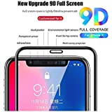 9D iPhone X Tempered Glass [Pack of 1] for iPhonex Screen Glass Protector, nzon Apple 10 [9D Tempered Glass] Anti-Scratch, Ultra-Clear Screen Protector Film for iPhone X (Black 9D)