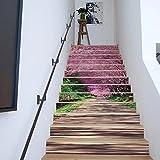 Frolahouse Kirschblüten Treppenaufkleber, 3D kreative Treppe Aufkleber, selbstklebende abnehmbare wasserdichte Treppe Wandbilder Tapete Aufkleber für Stairway oder Home Decor - 13 PCS/SET