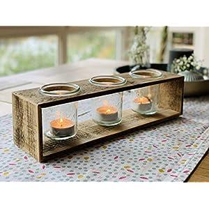 Teelichthalter aus Holz einer Obstkiste mit 3 x Einmachglas | Upcycling Geschenkidee